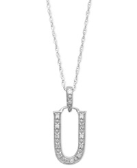 Macy's 14K White Gold Necklace Diamond Accent Letter U
