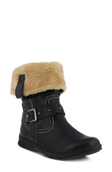 Spring Step Peeta Water Resistant Faux Fur Boot Navy Fabric