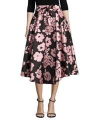 Milly Jackie Floral Print Midi Skirt Blush