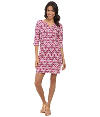 Hatley Peplum Sleeve Dress Batik Fuchsia Women's Dress Pink