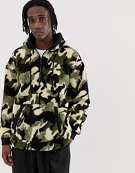 Your Turn Yourturn Borg Camo Hoodie With Half Zip Green