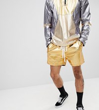 Reclaimed Vintage Inspired Shorts In Gold Metallic