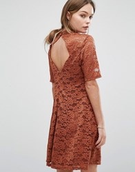 New Look Lace High Neck Shift Dress Burnt Orange Red