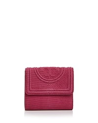 Tory Burch Fleming Snake Embossed Leather Mini Wallet Hibiscus Pink