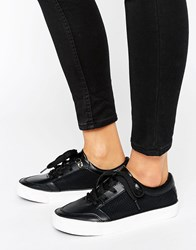 New Look Leather Trainer Black