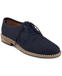 Tommy Hilfiger Raenay Perforated Lace Up Oxfords Women's Shoes Dark Blue