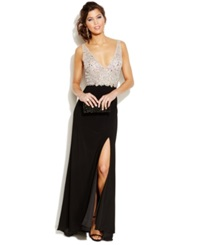 Blondie Nites Juniors' Embellished Plunging Neckline Gown Nude Black