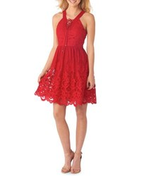5Twelve Fit And Flare Lace Overlay Dress Red