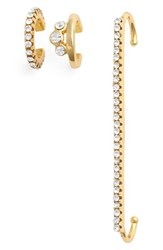 Jules Smith Designs Women's Ear Cuffs Yellow Gold Clear Set Of 3 Yellow Gold Clear