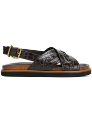 Tod's Textured Crossover Sandals Brown