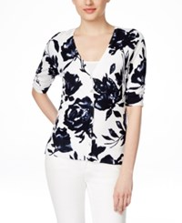 Inc International Concepts Petite Floral Print Cardigan Only At Macy's Deep Twilight