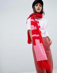 Miss Selfridge Knitted Slogan Scarf In Pink And Red