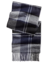 Club Room Men's Offset Plaid Cashmere Scarf Only At Macy's Navy