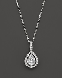 Bloomingdale's Diamond Fancy Cut Teardrop Pendant Necklace .65 Ct. T.W. White Gold White Diamonds