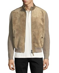 Tom Ford Cashmere Linen Suede Front Blouson Jacket Saddle