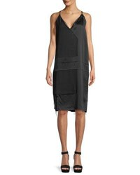 Urban Zen Raw Edge Silk Cami Dress Black