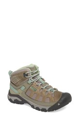 Keen Targhee Vent Mid Hiking Shoe Fumo Quiet Green Leather