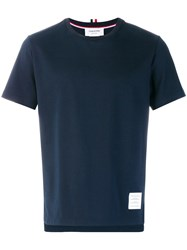 Thom Browne Side Slit Relaxed Fit Short Sleeve Jersey Tee Blue