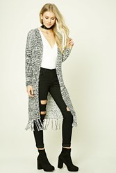 Forever 21 Marled Fringed Cardigan Black Cream