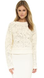 Torn By Ronny Kobo Naomi Crochet Cropped Sweater Oat