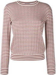 A.P.C. 'Annabelle' Striped Pointelle Knit Sweater Brown