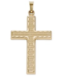 Macy's Rippled Edge Cross Pendant In 14K Gold Yellow Gold