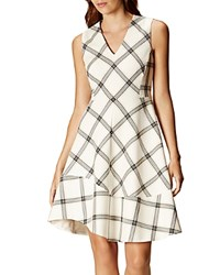 Karen Millen Check Print Dress Cream Multi