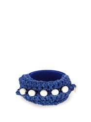 Lucy Folk Pearl Diver Slap Crochet And Pearl Bracelet Blue