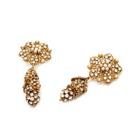 Chanel Haute Couture Vintage 2005 Gold Pearl And Rhinestone Earrings