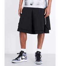 Comme Des Garcons High Rise Layered Wool Shorts Black Black