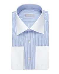 Stefano Ricci Striped Dress Shirt With Solid Collar And Cuffs Blue