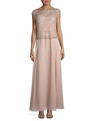 J Kara Beaded Ankle Length Dress Blush