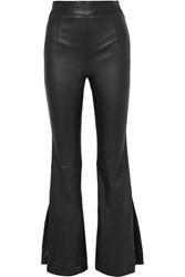 Solace London Almada Leather Bootcut Pants Black
