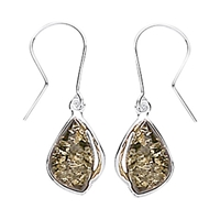 Goldmajor Green Amber Drop Earrings Silver