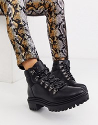 Bershka Lace Front Hook Detail Boots In Black