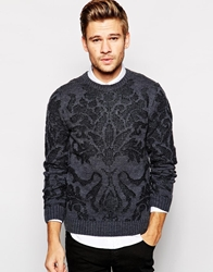 Blend Of America Blend Crew Knit Jumper Slim Fit Floral Burnout Charcoal