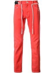 Off White Low Rise Jeans Red