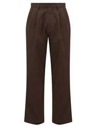 E. Tautz Pleated Cotton Twill Straight Leg Chino Trousers Dark Brown
