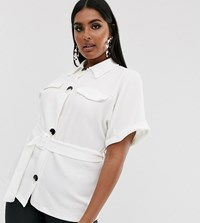 Pink Clove Belted Shirt In Texture With Faux Horn Buttons White