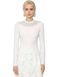 Ermanno Scervino Crewneck Virgin Wool Knit Sweater Ivory