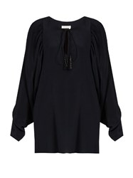 Chloe Tie Neck Silk Blouse Navy