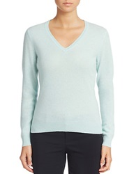 Lord And Taylor Cashmere V Neck Sweater Iced Aqua Heather
