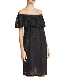 Echo Off The Shoulder Eyelet Dress Swim Cover Up Black