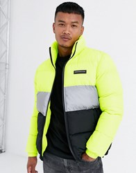 Good For Nothing Puffer Jacket In Neon With Reflective Panel Yellow