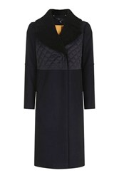 Topshop Quilted Borg Hybrid Wool Coat Navy Blue