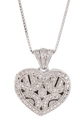 Sterling Silver Diamond Heart Locket Pendant Necklace 0.06 Ctw Metallic
