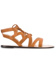 Tila March Imperia Flat Sandals Women Leather Goat Suede 40 Brown