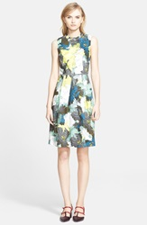 Erdem Floral Print Cotton Sateen Full Skirt Dress Mint Green Multi