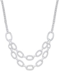 Charter Club Silver Tone Two Row Chain Link Necklace Only At Macy's