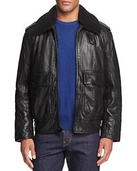 Andrew Marc New York Anchorage Shearling Collar Lambskin Leather Aviator Jacket Jet Black